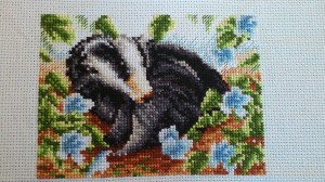 Badger Cross Stitch Almost Finished