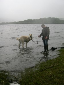 Will going for a paddle (and a pee) with Terry ©Rachel Gibbs